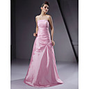 Floor-length Taffeta Bridesmaid Dress - Blushing Pink Plus Sizes / Petite A-line / Princess Strapless