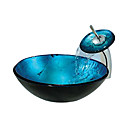 Blue Round Tempered glass Vessel Sink With Waterfall Faucet(0888-C-BLY-6438-WF)