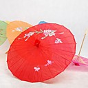 rød silke parasoll