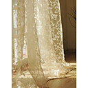 Print Beige Casual Sheer Curtain (Two Panels)