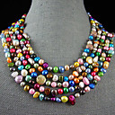 4-10mm color del arco iris de agua dulce verdadero collar de perlas - 100 pulgadas