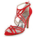 Silk Stiletto Heel Sandals  With Rhinestone Wedding Shoes (More Colors Available)