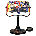 Tiffany Glass Table Lights with Purple Dragonfly Pattern