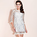TS Ruff Collar Lace Dress , Polyester ¾ Sleeve