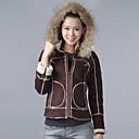 Mode met lange mouwen met capuchon Collar Huwelijk / Career Suede Composite Jacket (meer kleuren)