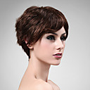Capless 100% Human Hair Wig Short High Quality Natural Look Dark Brown Curly Hair Wig