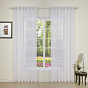 Two Panels Modern Solid White Bedroom Polyester Sheer Curtains Shades