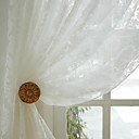 Two Panels Country Floral / Botanical White Dining Room Polyester Sheer Curtains Shades