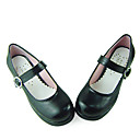 Black PU Leather 4.5cm High Heel School Lolita Shoes