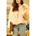 Long Sleeve Kragenlose Casual / Evening Faux Fur Coat (mehr Farben)