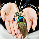 Women's Peacock Feather Diamond Vintage Necklace