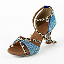 Women's Leatherette / Rhinestone Upper Ankle Strap Latin / Salsa Dance Shoes (More Colors)