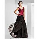 Formal Evening / Military Ball Dress - Plus Size / Petite Sheath/Column V-neck Floor-length Tulle