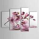 Handgeschilderd bloemmotief olieverfschilderij, op stretch frame - set van 4