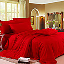 4-Piece Katherine Red Solid Cotton Duvet Cover Set