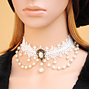 Gothic Layered Mujer Blanco Collar Lace Little Pearl