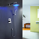 Sprinkle® Shower Faucets LED / Waterfall with Chrome Single Handle Four Holes