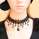 Women's Gothic Black Flower Lace Beaded Bijou Necklace