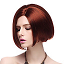 Capless High Quality Synthetic Red Gerade BOB Haar-Perücken