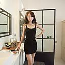 Women's Solid Dress , Bodycon/Casual Deep U Sleeveless
