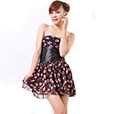 ZHI YUAN Strapless Gather Floral Print Swing Dress(Excl.Belt)(More Colors)