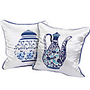 Set med 2 blå och vit porslin Pot Design dekorationskudde Cover