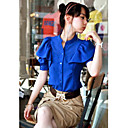 Women's Solid Blue/Pink/White Blouse/Shirt , Crew Neck Short Sleeve Ruffle