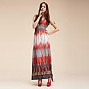 ocean poesi red deep v neck print strand klänning (byst 70-110cm)