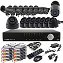 Ultra 16CH D1 em tempo real H.264 CCTV DVR Kit (16 420TVL Night Vision Câmeras CMOS, Outdoor e Indoor)