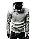 Männer Cooton Oblique Zipper Hochgeschlossen Fleece mit Kapuze (Grau)