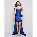 Sheath/Column Sweetheart Asymmetrical Sequined Evening Dress