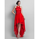 Formal Evening/Prom Dress - Ruby Plus Sizes Sheath/Column High Neck Asymmetrical Chiffon/Lace