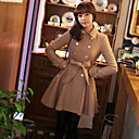 Women's Black/Brown Trench Coat , Casual Long Sleeve Wool/Polyester