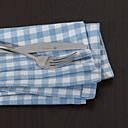 Set of 4 Blue Check Pattern Napkins