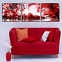 Stretched Canvas Art Landscape Red Trees Set of 3