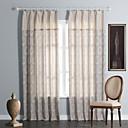 (Two Panels) Geometic Linen/Cotton Jacquard Eco-friendly Curtain
