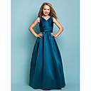 Vestido de Dama de Honor Junior - Azul Tinta Corte A/Corte Princesa Escote en V Hasta el Suelo Satén