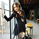 Frauen Doppel-Seiten-Reißverschluss Chiffon Spleißen Asym Hem T-Shirt