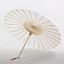 White Cotton Umbrella With Tassels