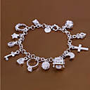 Fashion Mässing Silver Plated 13 Hängen Charm Bracelet