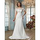 Lan Ting Trumpet/Mermaid Plus Sizes Wedding Dress - Ivory Sweep/Brush Train Off-the-shoulder Chiffon/Lace