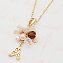 Women's Diamond bow ribbon Eiffel Tower necklace N505
