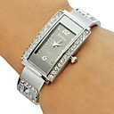 Women's Diamante Rectangle Dial Alloy Band Bracelet Watch (Assorted Colors)