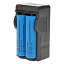 ICR 18650 3.7V 2400mAh Blue Li-ion Rechargeable Battery with Charger 2-Pack without Protection Board