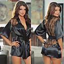 Black Lace Satin Robe Damen Nachtwäsche Nacht