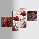 dipinto a mano olio su tela con cornice floreale allungata - set di 4