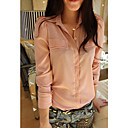 Women's Solid Green/Pink Blouse/Shirt Long Sleeve