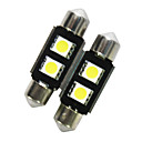 36mm 3 SMD Pure White Dome Festoon CANBUS Fejl Gratis Car 3 LED pære lampe (1 par)