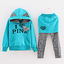 Brief Print Leopard Splitsen Kleding Sets Girl's