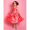 אונליין רצועות שמלת ילדה באורך הברך טפטה פרח (733,948)